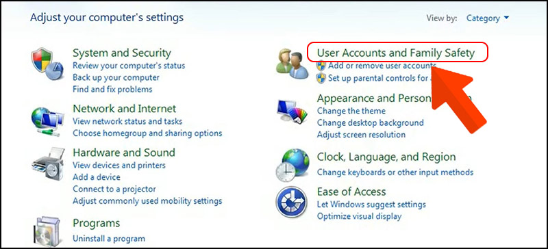 Chọn User Accounts and Family Safety.