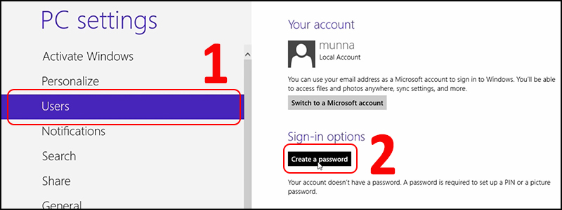 Chọn mục Users > Ở mục Sign-in options chọn Create a password.
